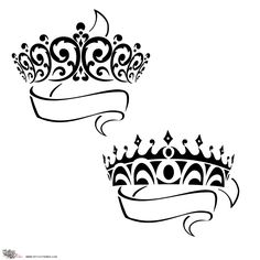 king and queen crowns together clipart #1