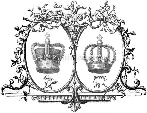 king and queen crowns together clipart #15