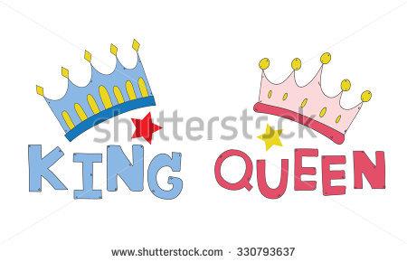 Crown King Queen Word King Queen Stock Vector 330793637.