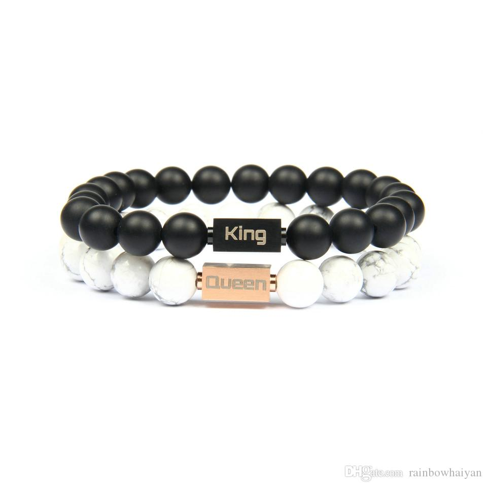 New Luxury Couple Crown Jewelry King And Queen Logo Stainless Steel  Bracelets With 8mm Natural Stone Beads Womens Charm Bracelet Silver  Pendants From.
