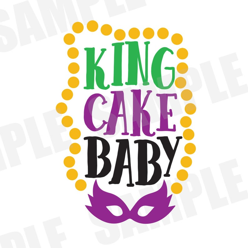 Mardi Gras King Cake Baby Parade Carnival SVG DXF Commercial/Personal Use  Silhouette Cameo.