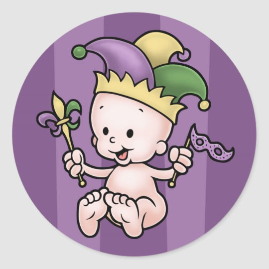 King Cake Baby Classic Round Sticker.