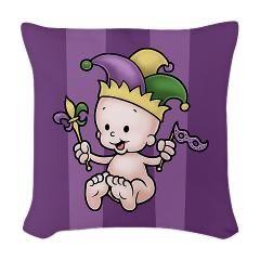 King Cake Baby II Woven Throw Pillow > King Cake Baby II.