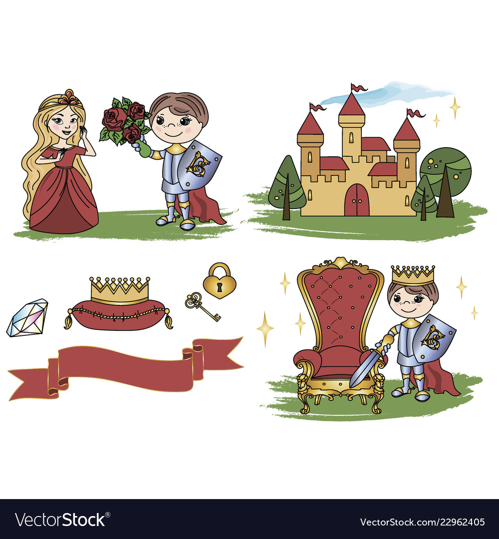 Little king castle cartoon clipart color.