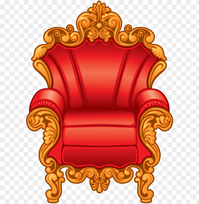 clipart of a red and gold royal king\'s throne chair.