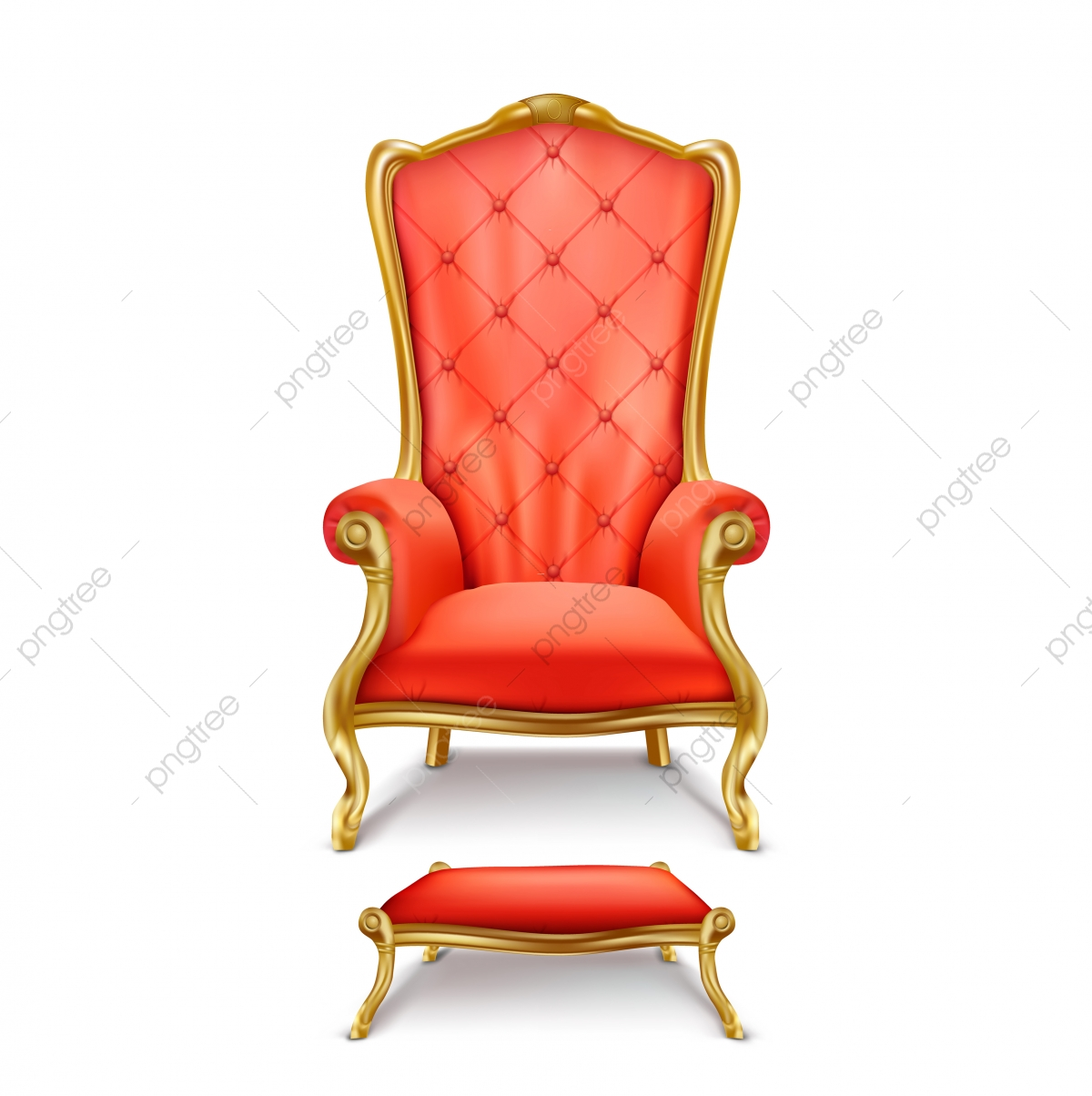 Vector Luxurious Red Throne In Realistic Style, Throne, King, Chair.