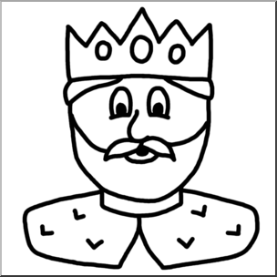 Clip Art: Cartoon Faces: King B&W I abcteach.com.