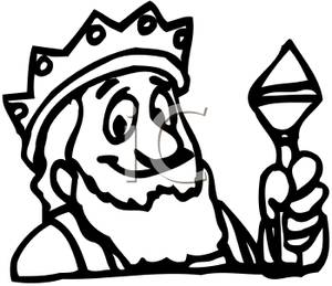 Black and White King Crown Clipart.