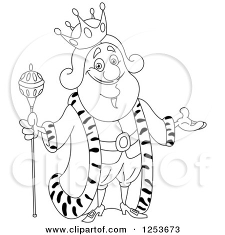 Clipart of a Black and White Line Art Design of a Welcoming King.