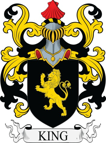 King Coat of Arms Meanings and Family Crest Artwork.