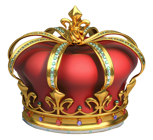 Gold and Red Crown with Diamonds PNG Clipart.