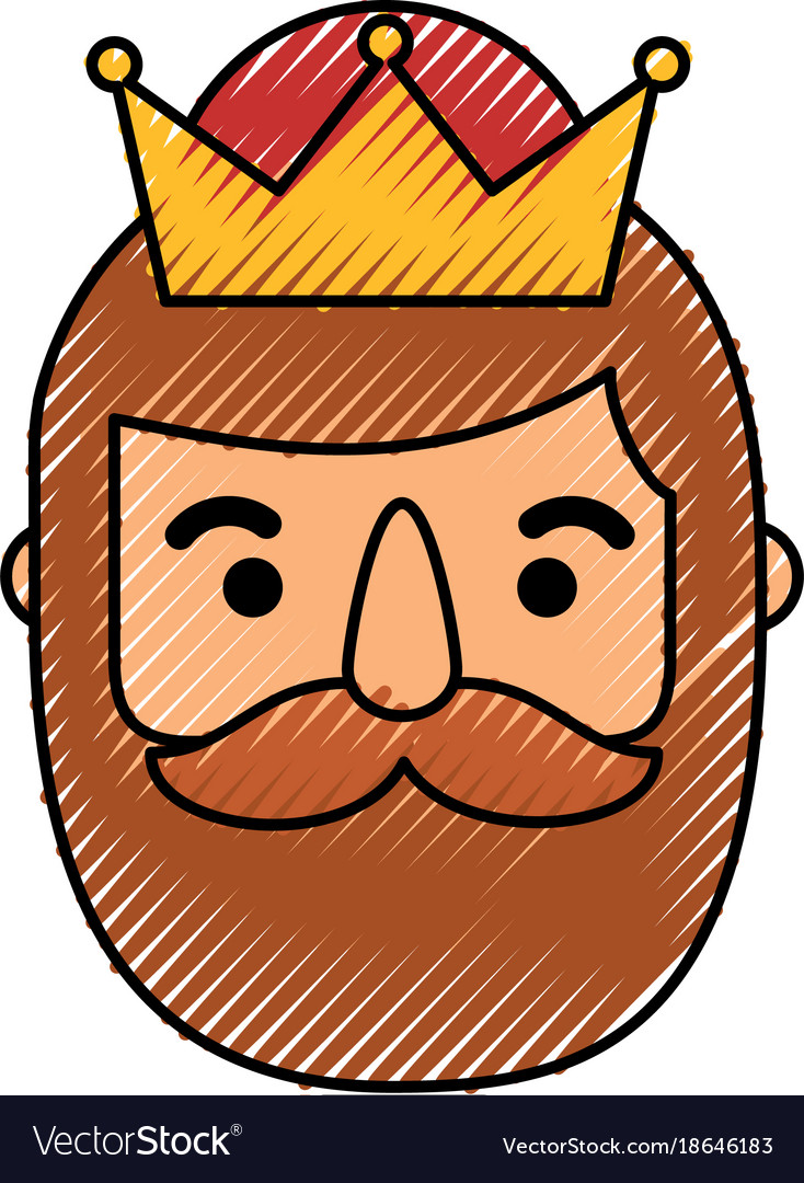 Wise king face christmas cartoon vector image.