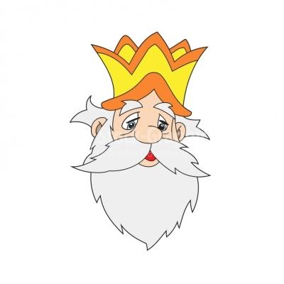 Sad cartoon king\'s face.