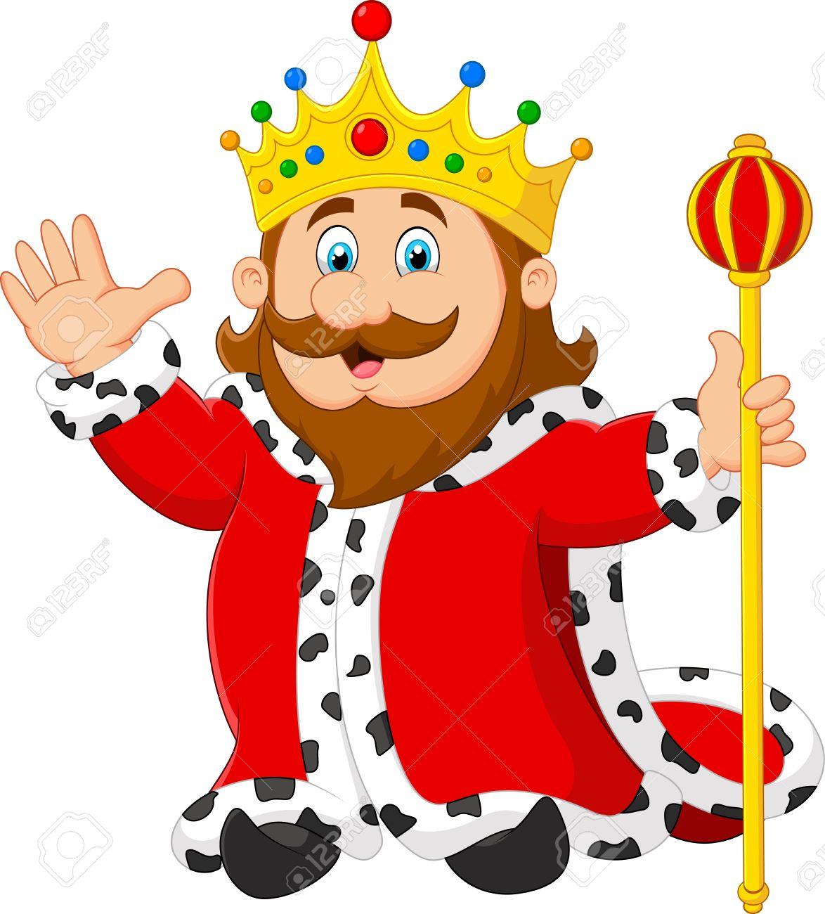 Cartoon king holding a golden scepter.