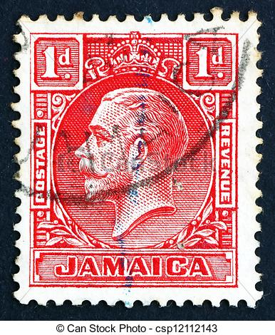 Stock Photo of Postage stamp Costa Rica 1921 King George V.