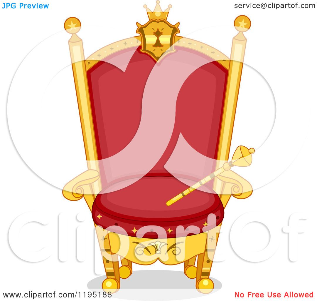 Cartoon of a Red and Gold Kings Throne with Scepter.