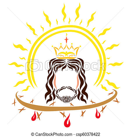 King Jesus Christ, the shining sun and the crown of thorns with blood.