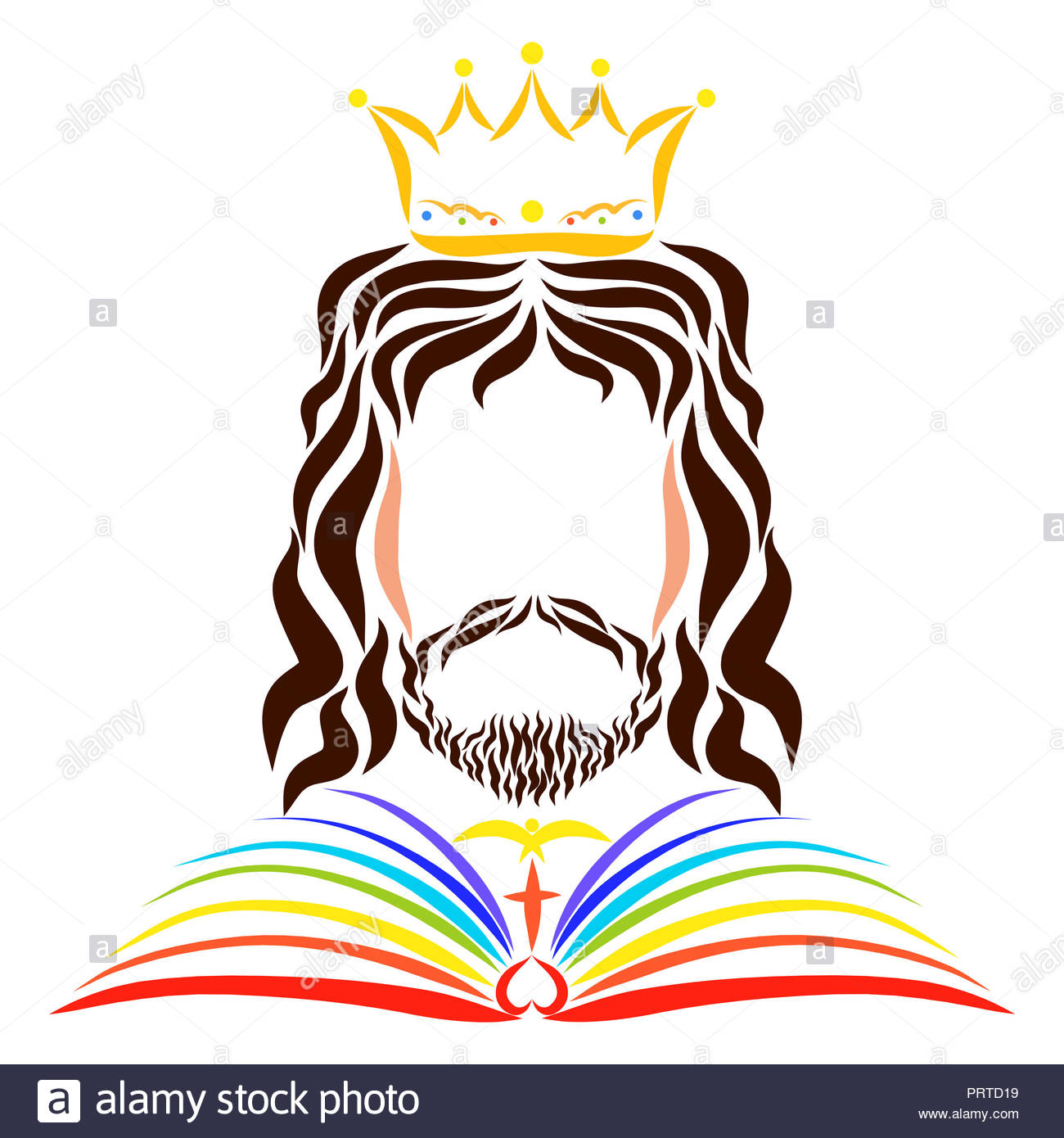 King Jesus in a raincoat in the form of a rainbow book Stock Photo.