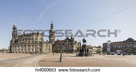 Stock Photo of Germany, Saxony, Dresden, Theatre Square with.