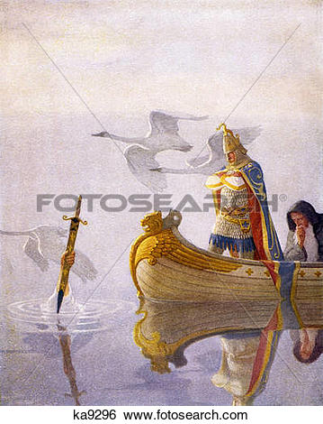 Stock Images of King Arthur Sword Of Power Excalibur In Lake By.