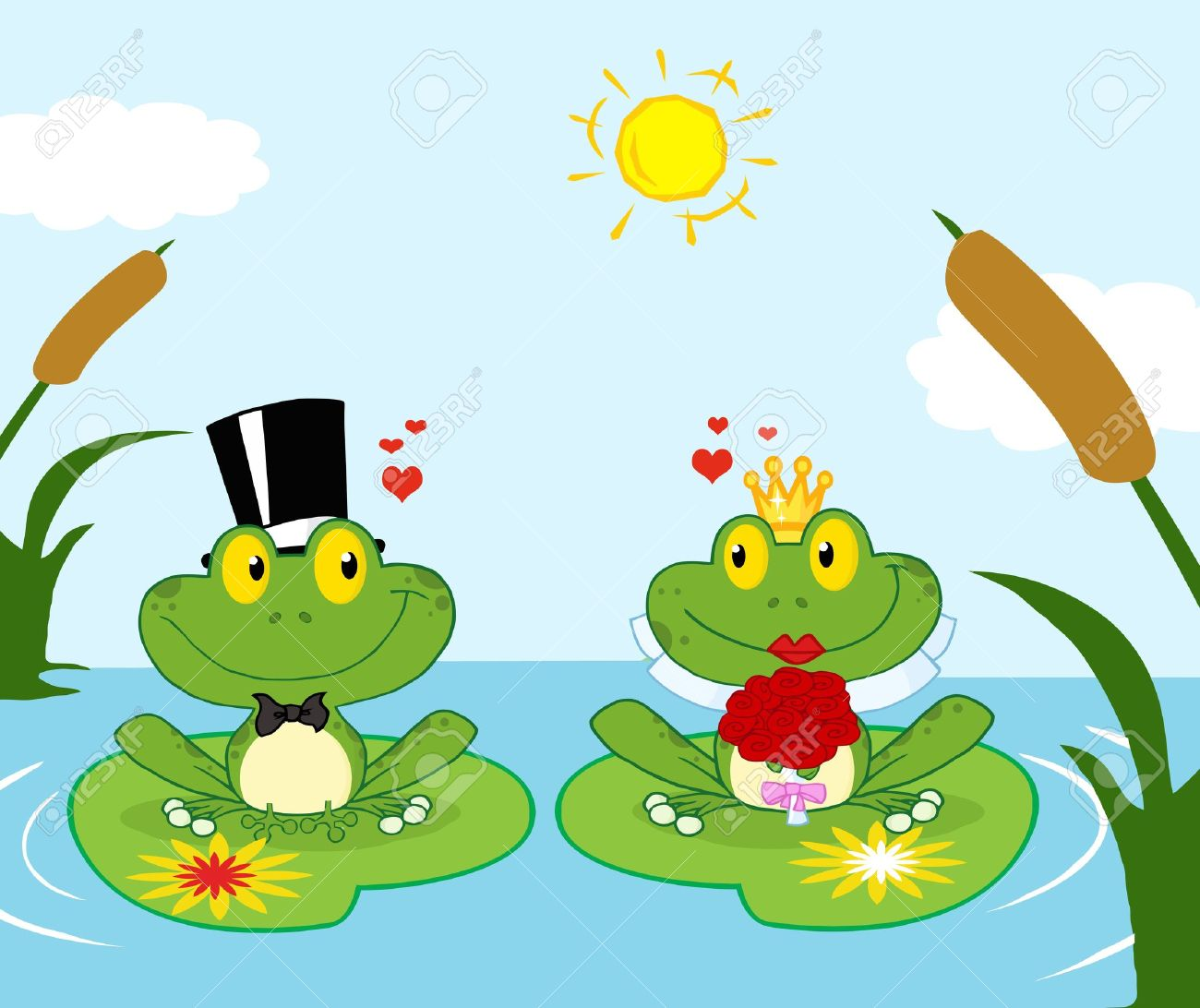 Bride And Groom Frogs Cartoon Characters On A Leafs In Lake.