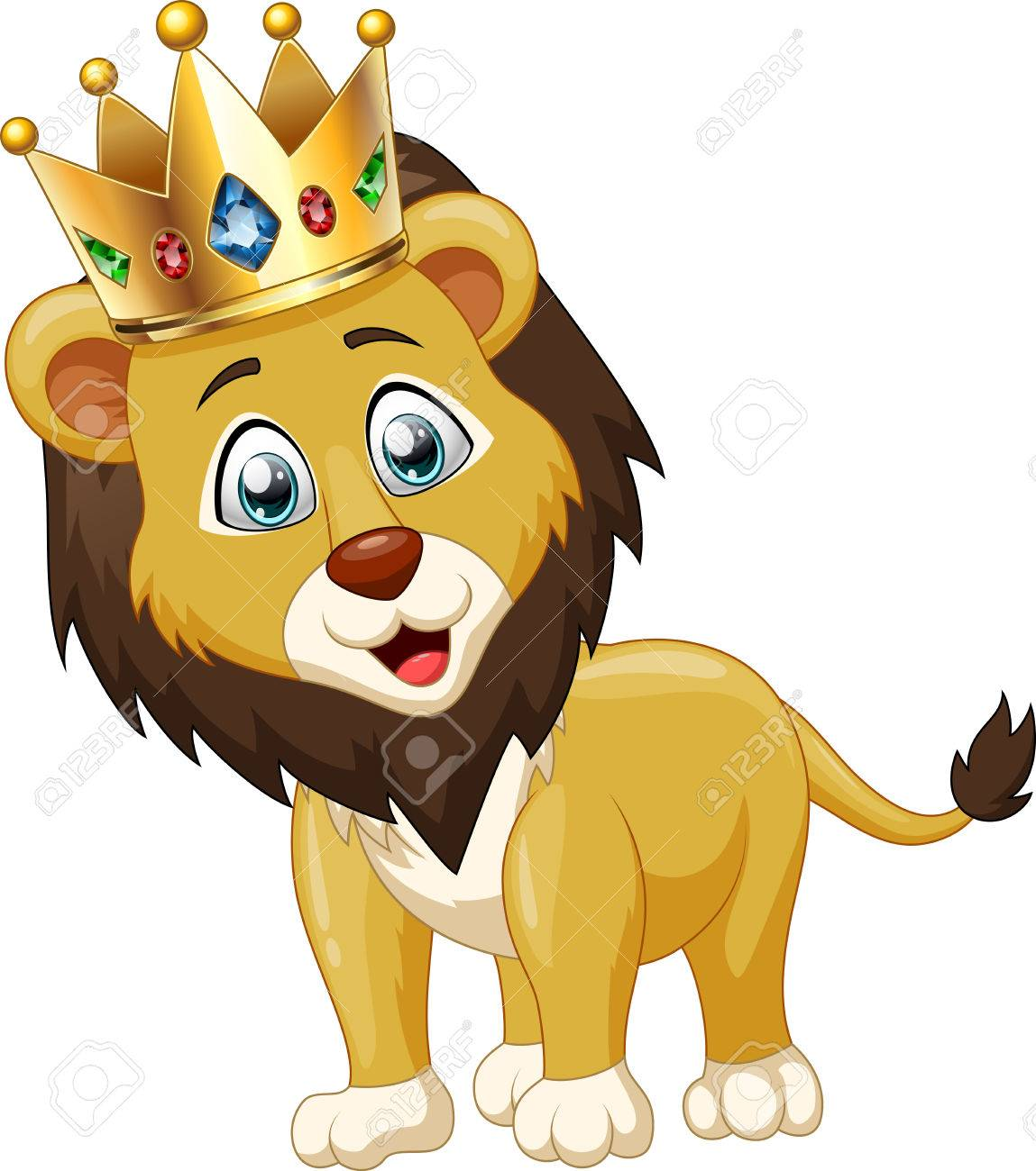 Cute lion king cartoon. Vector illustration.