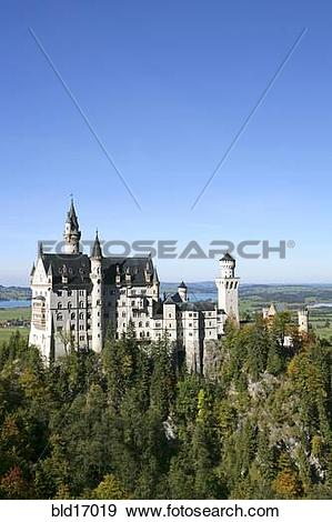Stock Photograph of Schloss Neuschwanstein fairytale castle built.