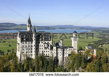 Stock Images of Schloss Neuschwanstein fairytale castle built by.