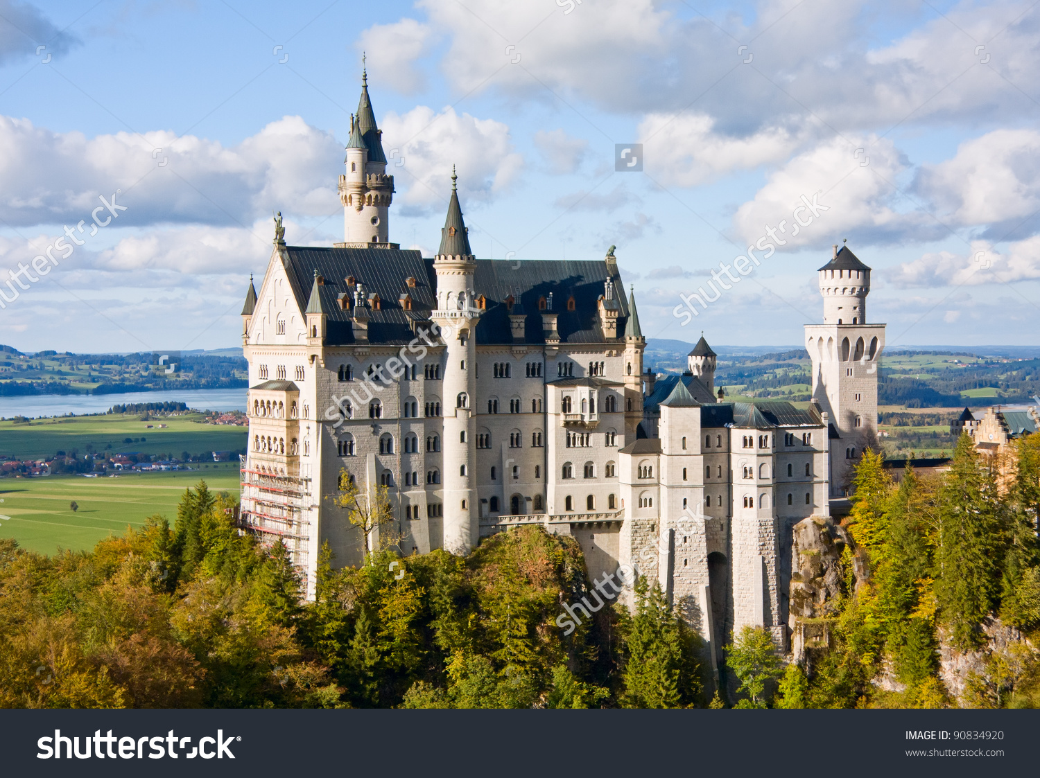 Famous Neuschwanstein Castle Germany Bavaria Built Stock Photo.
