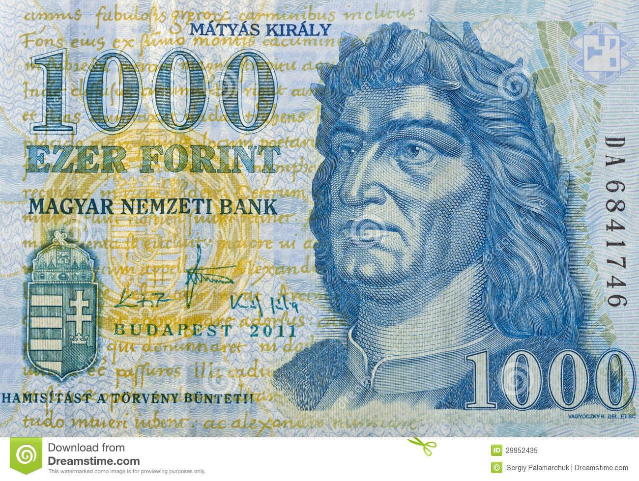Money Of Hungary 1000 Forint Macro Royalty Free Stock Photo.