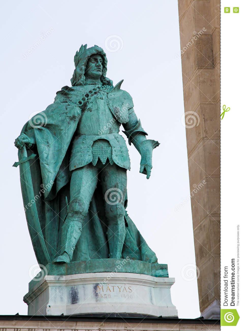 Statue Of King Matthias Corvinus In Budapest, Hungary Stock Photo.