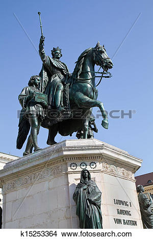 Stock Photo of Statue of King Ludwig of Bavaria in Munich, Germany.