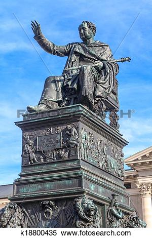 Stock Image of Munich, Statue of King Max Joseph in front of.
