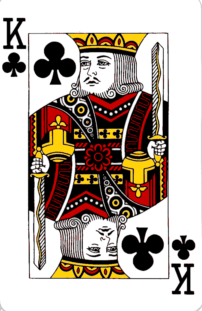 Playing cards: King of Hearts.