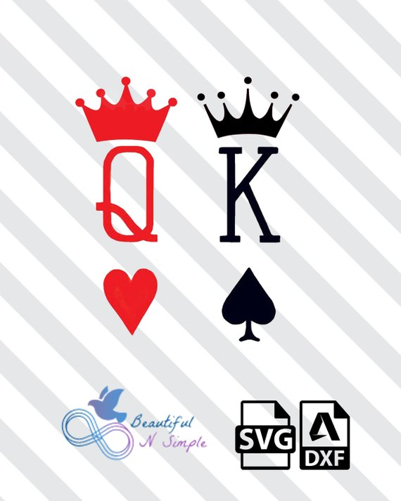 King of Spades Queen of Heart, SVG and DXF File.