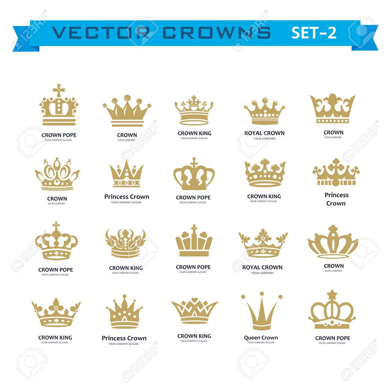 Vector collection of creative king, queen, princess, pope crowns...