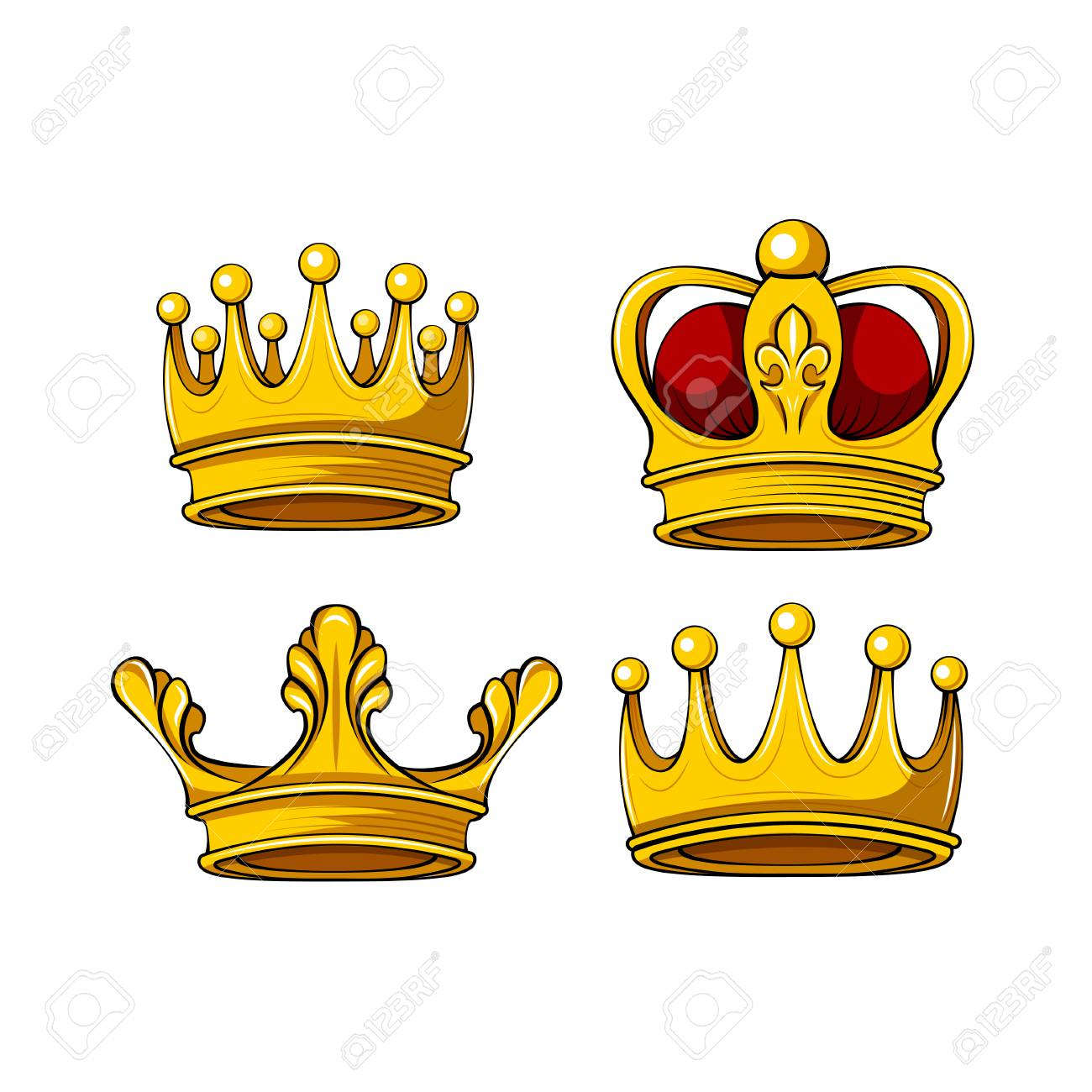 Cartoon royal crown icons set. Vector king, queen, prince, princess...
