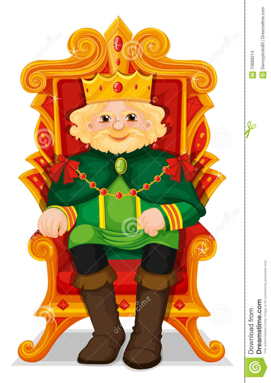 King Sitting In The Throne Stock Vector.