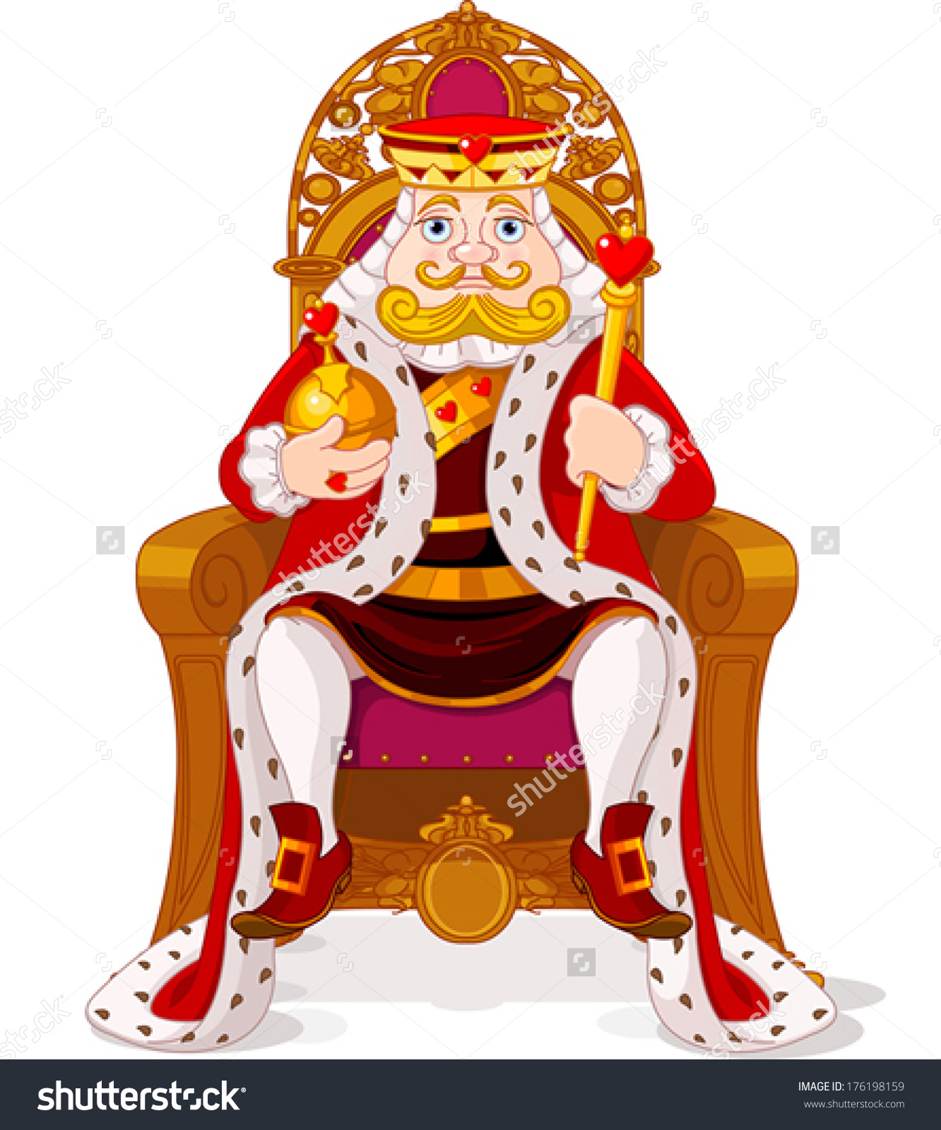 King Sitting On Throne Stock Vector 176198159.