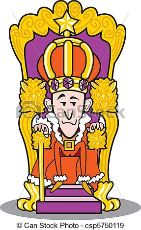 EPS Vectors of King wearing a crown and sitting on throne.