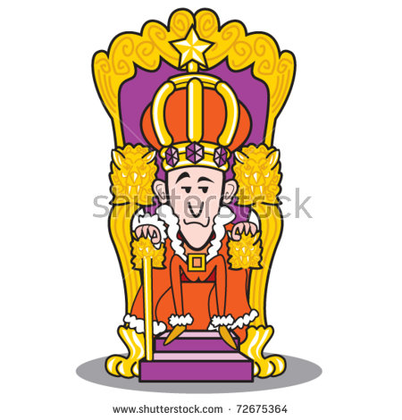 King Wearing Crown Sitting On Throne Stock Vector 72675364.