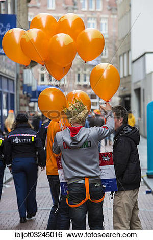 """Stock Images of """"Souvenir vendor on Queen's Day, celebrating the."""