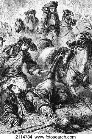 Stock Photo of King William Iii Thrown From His Horse At Hampton.