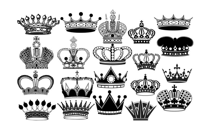 Crown Silhouette, Crown clipart, Royal Crown clip art, King crown, Queen  crown, Princess crown, Crown SVG PNG EPS.