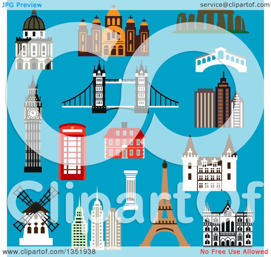 Clipart of Flat Design France, United Kingdom, Greece, USA.