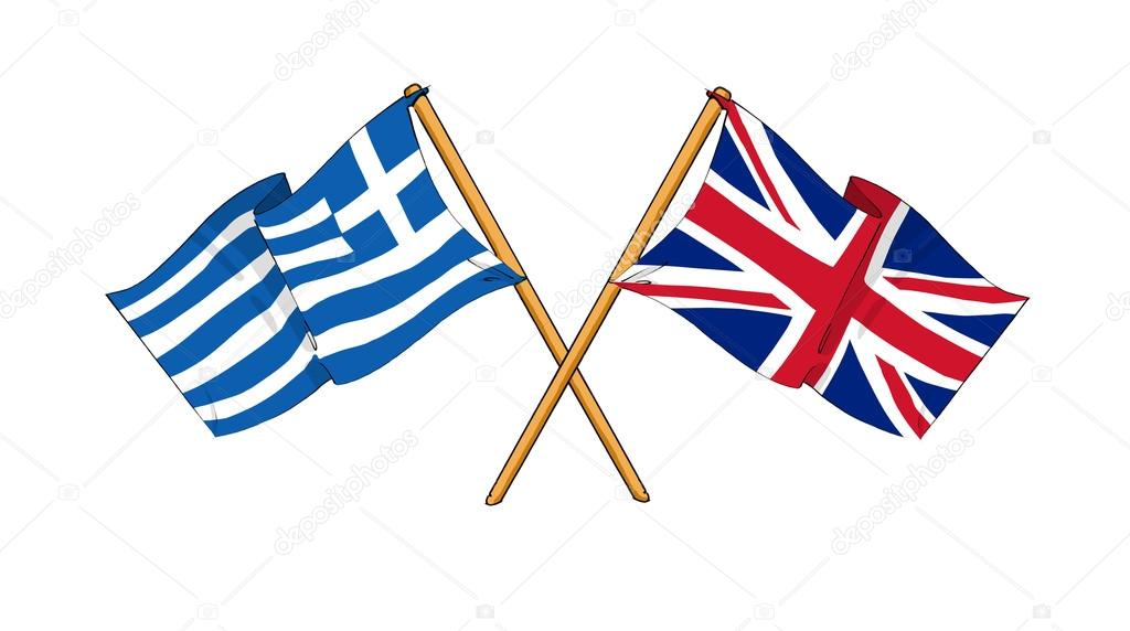United Kingdom and Greece alliance and friendship — Stock Photo.