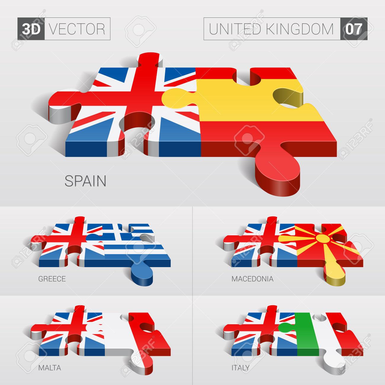 United Kingdom And Spain, Greece, Macedonia, Malta, Italy Flag.
