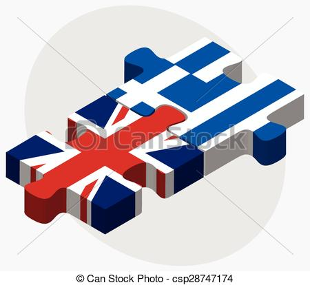 Vectors Illustration of United Kingdom and Greece Flags.