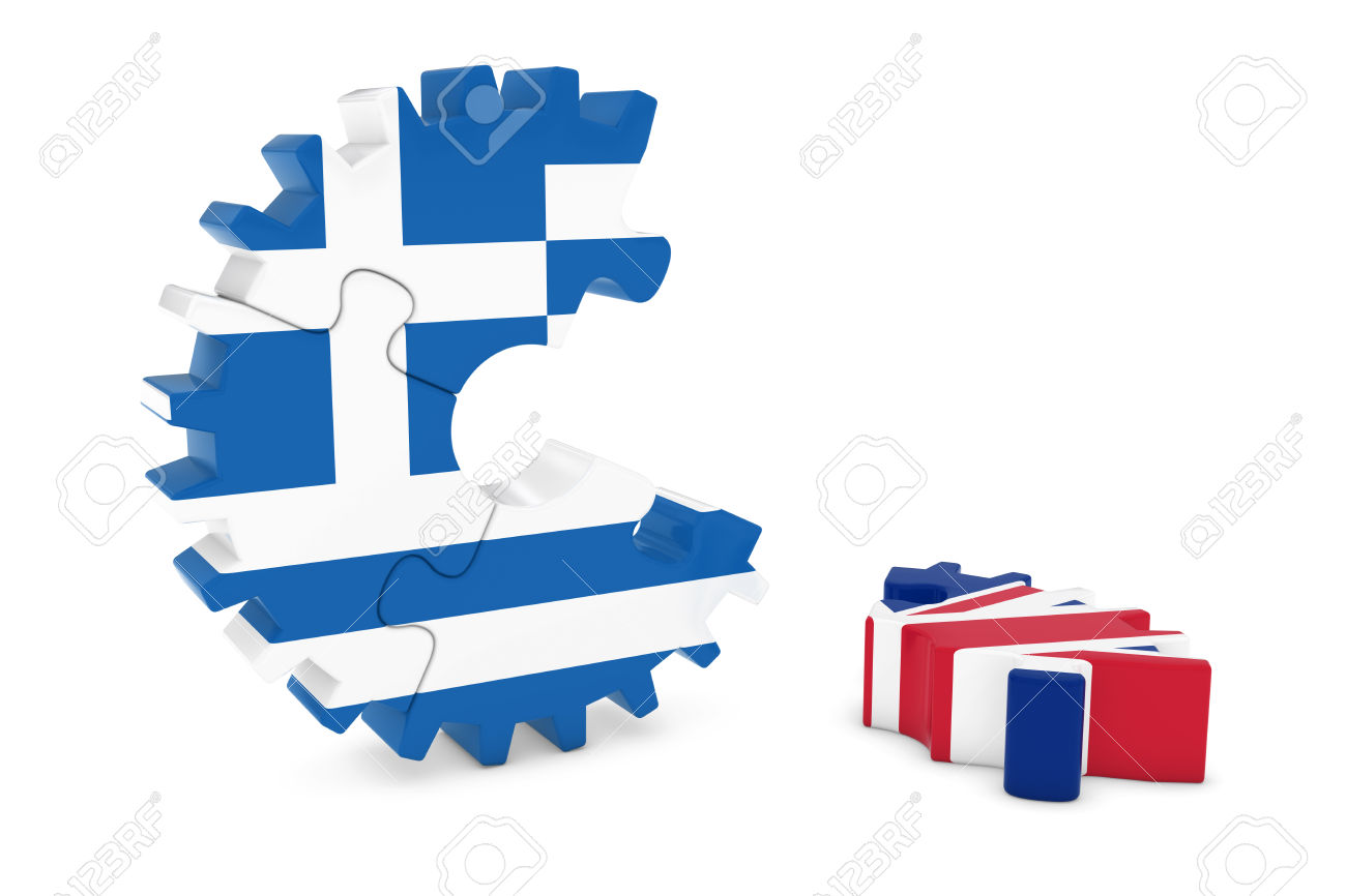 Greece And United Kingdom Relations Concept 3D Cog Flag Puzzle.