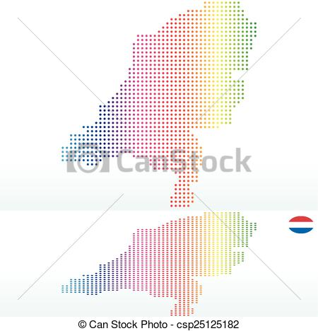 Vector of Map of Kingdom of the Netherlands with with Dot Pattern.